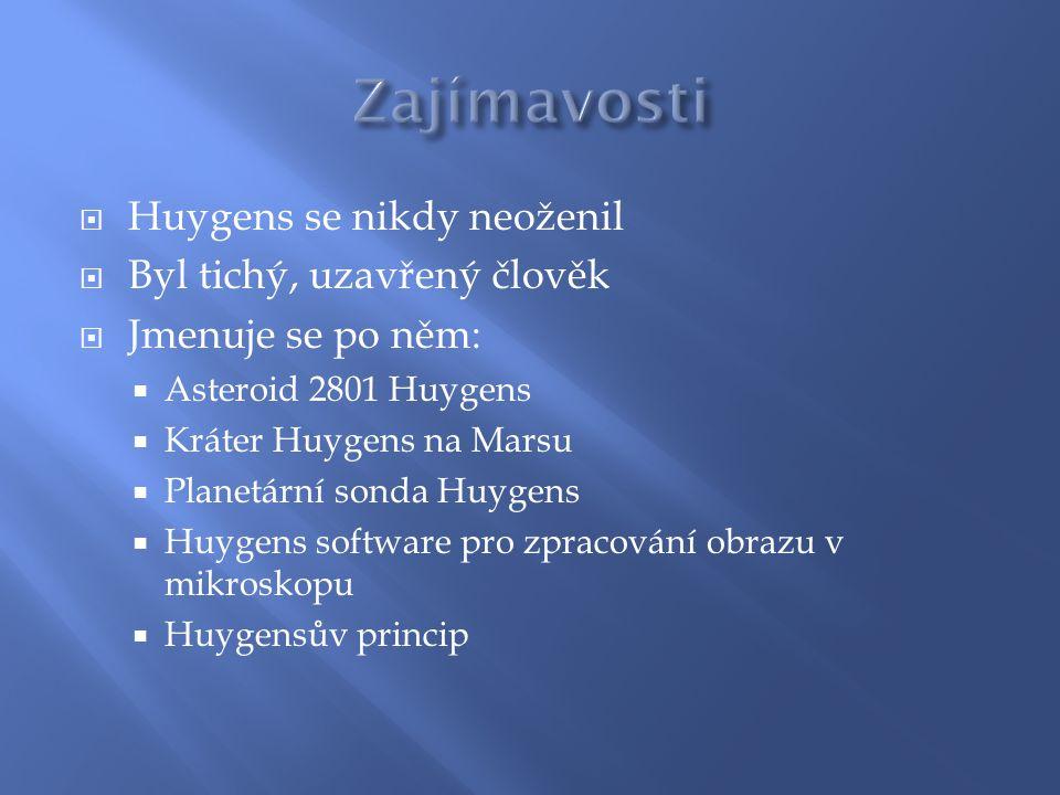  Huygens se nikdy neoženil  Byl tichý, uzavřený člověk  Jmenuje se po něm:  Asteroid 2801 Huygens  Kráter Huygens na Marsu  Planetární sonda Huy
