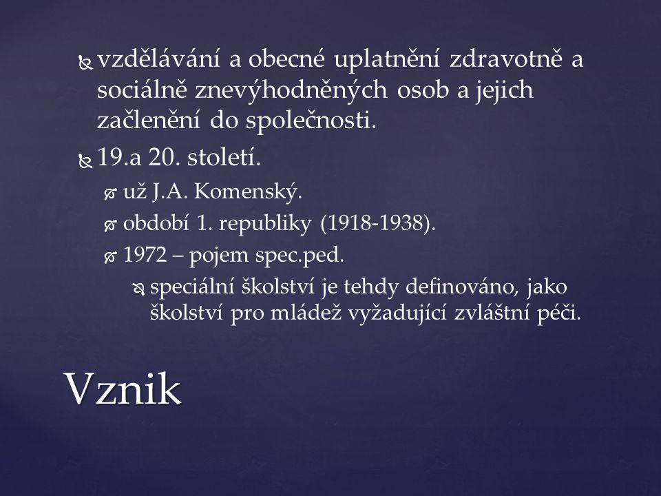   vzdělávání a obecné uplatnění zdravotně a sociálně znevýhodněných osob a jejich začlenění do společnosti.   19.a 20. století.   už J.A. Komens