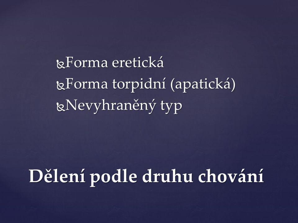 Dělení podle druhu chování  Forma eretická  Forma torpidní (apatická)  Nevyhraněný typ