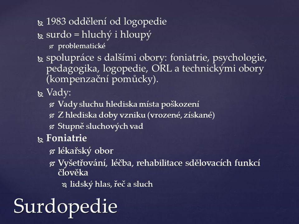   1983 oddělení od logopedie   surdo = hluchý i hloupý   problematické   spolupráce s dalšími obory: foniatrie, psychologie, pedagogika, logopedie, ORL a technickými obory (kompenzační pomůcky).