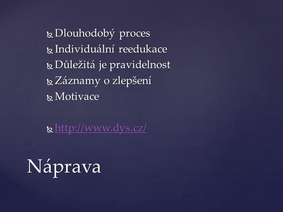  Dlouhodobý proces  Individuální reedukace  Důležitá je pravidelnost  Záznamy o zlepšení  Motivace  http://www.dys.cz/ http://www.dys.cz/ Náprava