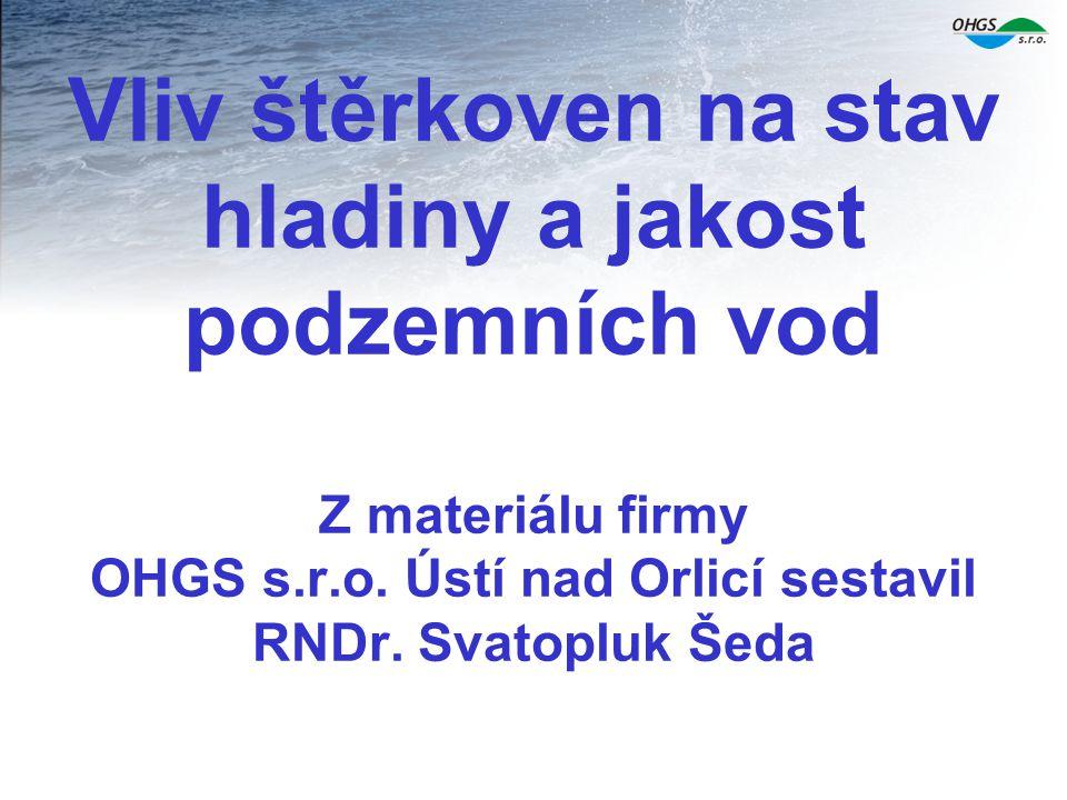 Některé hodnoty z chemických rozborů vody vně a uvnitř zkoumané štěrkovny jsou následující: vody vně štěrkovnyvody ve štěrkovně pH 6,7 8,4 konduktivita (mS/m)100 66 Na ( mg/l)40 25 Ca (mg/l)160100 HCO3 ( mg/l)280 40 NO3 ( mg/l)64 6 SiO2 ( mg/l)5,7 1,6 Fe (mg/l)0,1 0,08 Mn (mg/l)0,4 0,2 CHSk Mn (mg/l)0,7 1,9