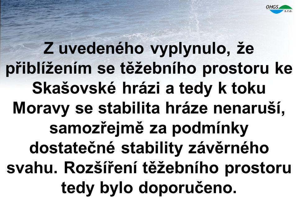 Z uvedeného vyplynulo, že přiblížením se těžebního prostoru ke Skašovské hrázi a tedy k toku Moravy se stabilita hráze nenaruší, samozřejmě za podmínk