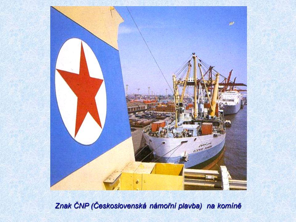 Znak ČNP (Československá námořní plavba) na komíně