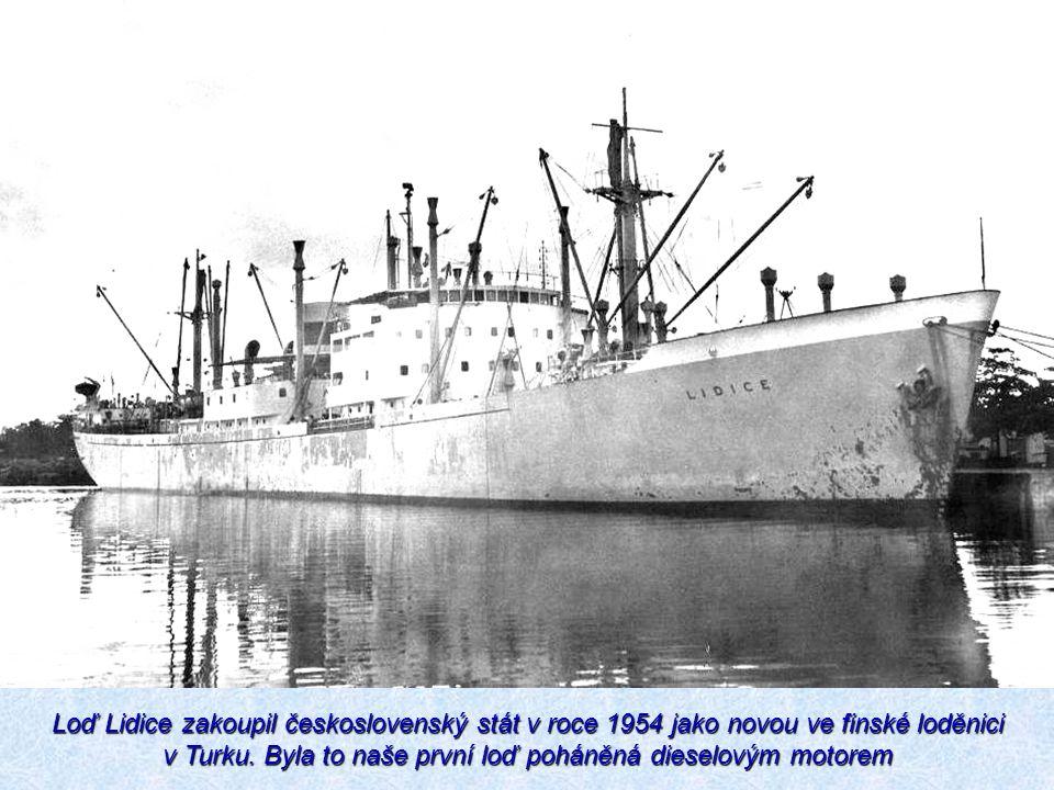 Loď Lidice zakoupil československý stát v roce 1954 jako novou ve finské loděnici v Turku. Byla to naše první loď poháněná dieselovým motorem