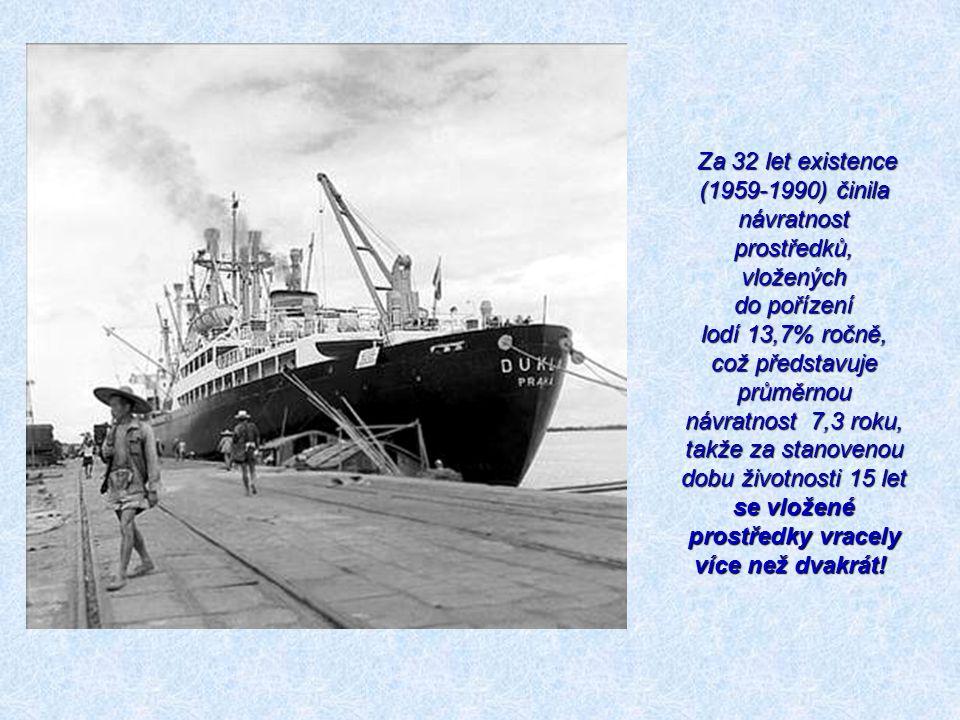 Za 32 let existence (1959-1990) činila návratnost prostředků, vložených do pořízení lodí 13,7% ročně, což představuje průměrnou návratnost 7,3 roku, t
