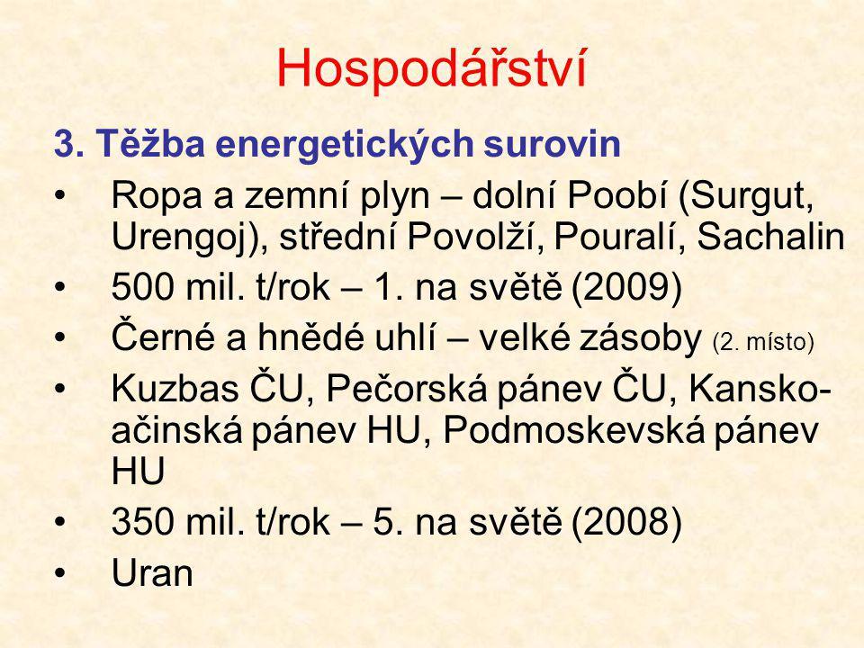 Hospodářství 3. Těžba energetických surovin •Ropa a zemní plyn – dolní Poobí (Surgut, Urengoj), střední Povolží, Pouralí, Sachalin •500 mil. t/rok – 1