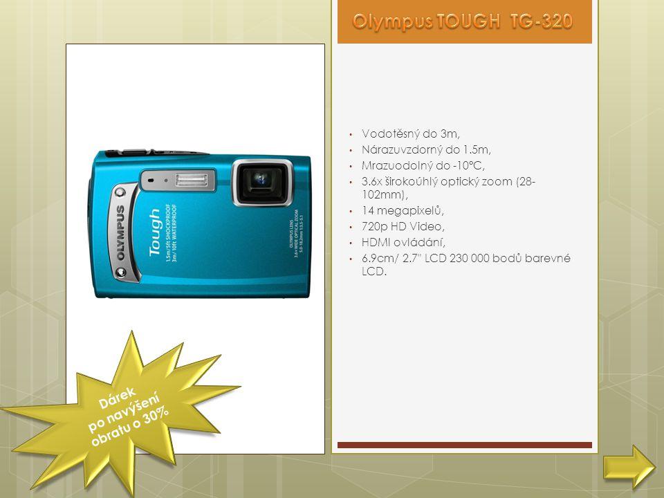 • Vodotěsný do 3m, • Nárazuvzdorný do 1.5m, • Mrazuodolný do -10°C, • 3.6x širokoúhlý optický zoom (28- 102mm), • 14 megapixelů, • 720p HD Video, • HDMI ovládání, • 6.9cm/ 2.7 LCD 230 000 bodů barevné LCD.