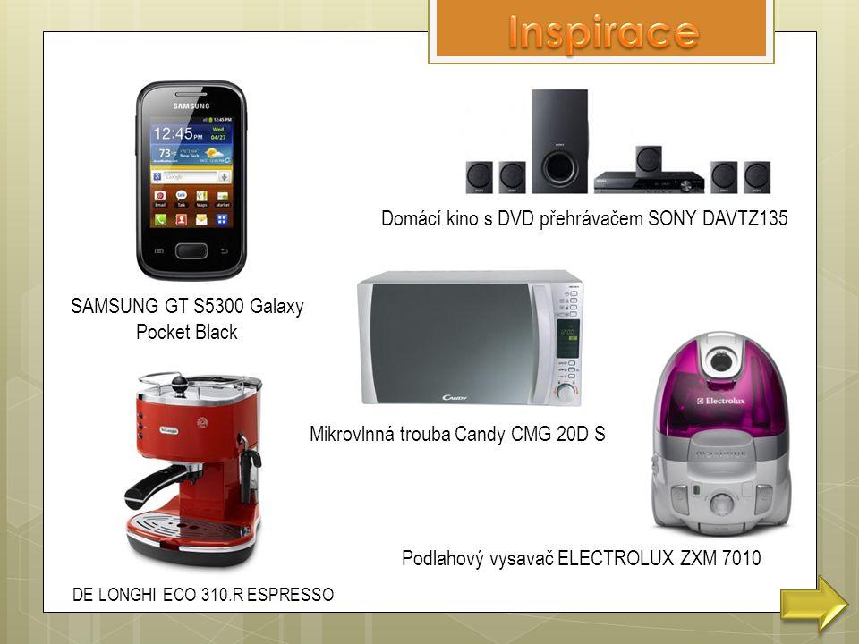SAMSUNG GT S5300 Galaxy Pocket Black DE LONGHI ECO 310.R ESPRESSO Domácí kino s DVD přehrávačem SONY DAVTZ135 Mikrovlnná trouba Candy CMG 20D S Podlahový vysavač ELECTROLUX ZXM 7010
