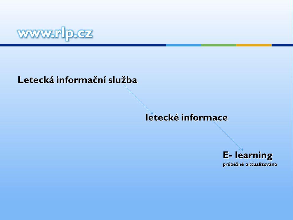 Letecká informační služba letecké informace letecké informace E- learning průběžně aktualizováno