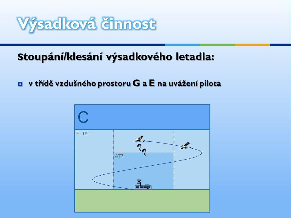 S toupání/klesání výsadkového letadla:  v třídě vzdušného prostoru G a E na uvážení pilota ATZ FL 95 C