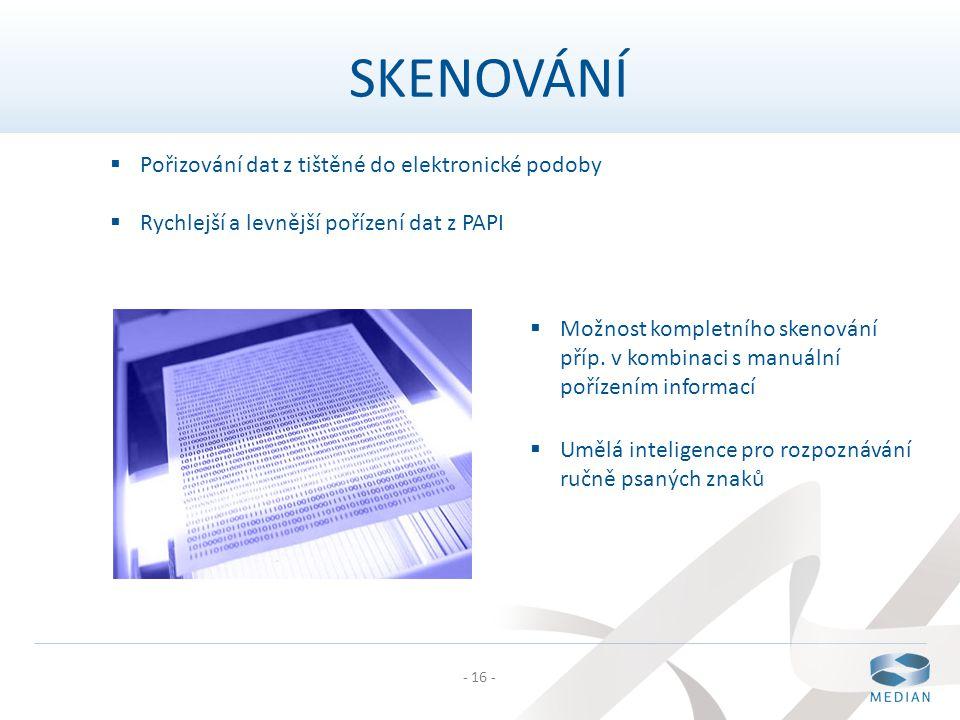 - 16 -  Pořizování dat z tištěné do elektronické podoby  Rychlejší a levnější pořízení dat z PAPI  Možnost kompletního skenování příp. v kombinaci