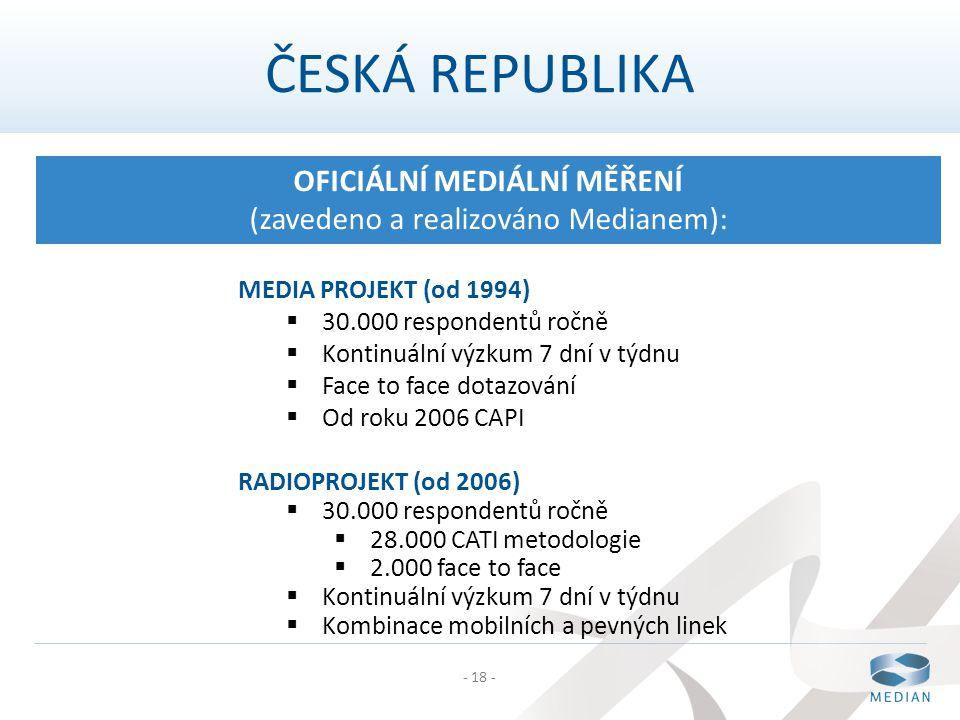 - 18 - ČESKÁ REPUBLIKA OFICIÁLNÍ MEDIÁLNÍ MĚŘENÍ (zavedeno a realizováno Medianem): MEDIA PROJEKT (od 1994)  30.000 respondentů ročně  Kontinuální v