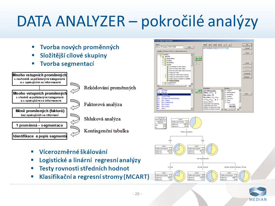 - 26 -  Tvorba nových proměnných  Složitější cílové skupiny  Tvorba segmentací DATA ANALYZER – pokročilé analýzy  Vícerozměrné škálování  Logisti