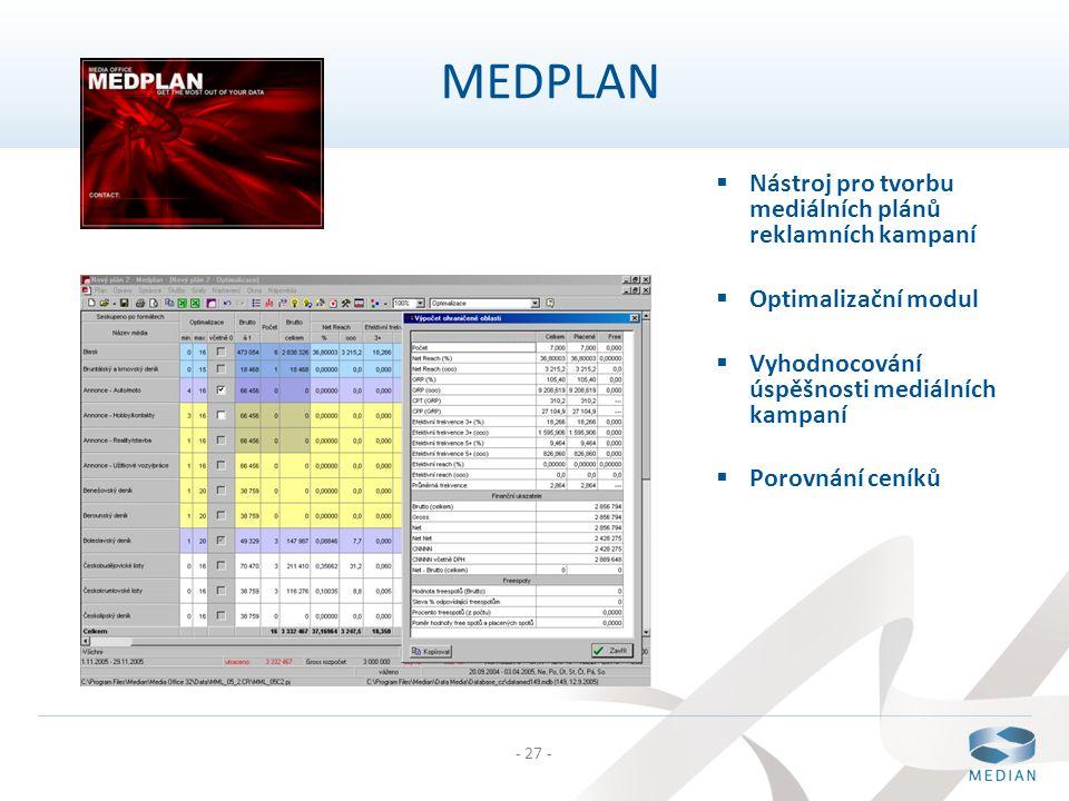 - 27 - MEDPLAN  Nástroj pro tvorbu mediálních plánů reklamních kampaní  Optimalizační modul  Vyhodnocování úspěšnosti mediálních kampaní  Porovnán
