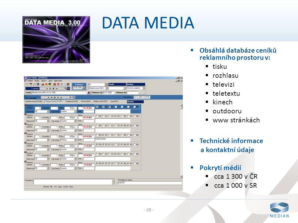 - 28 -  Obsáhlá databáze ceníků reklamního prostoru v:  tisku  rozhlasu  televizi  teletextu  kinech  outdooru  www stránkách  Technické info