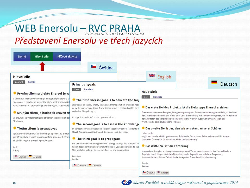 WEB Enersolu – RVC PRAHA Představení Enersolu ve třech jazycích Martin Pavlíček a Lukáš Unger – Enersol a popularizace 2014 10 REGIONÁLNÍ VZDĚLÁVACÍ C
