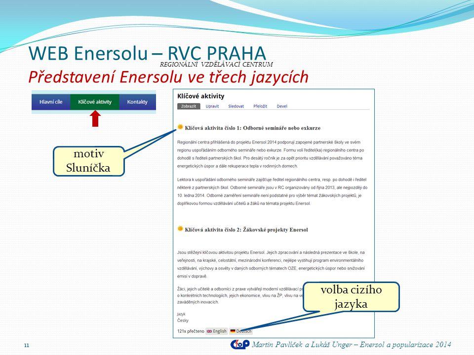 WEB Enersolu – RVC PRAHA Představení Enersolu ve třech jazycích Martin Pavlíček a Lukáš Unger – Enersol a popularizace 2014 11 REGIONÁLNÍ VZDĚLÁVACÍ C
