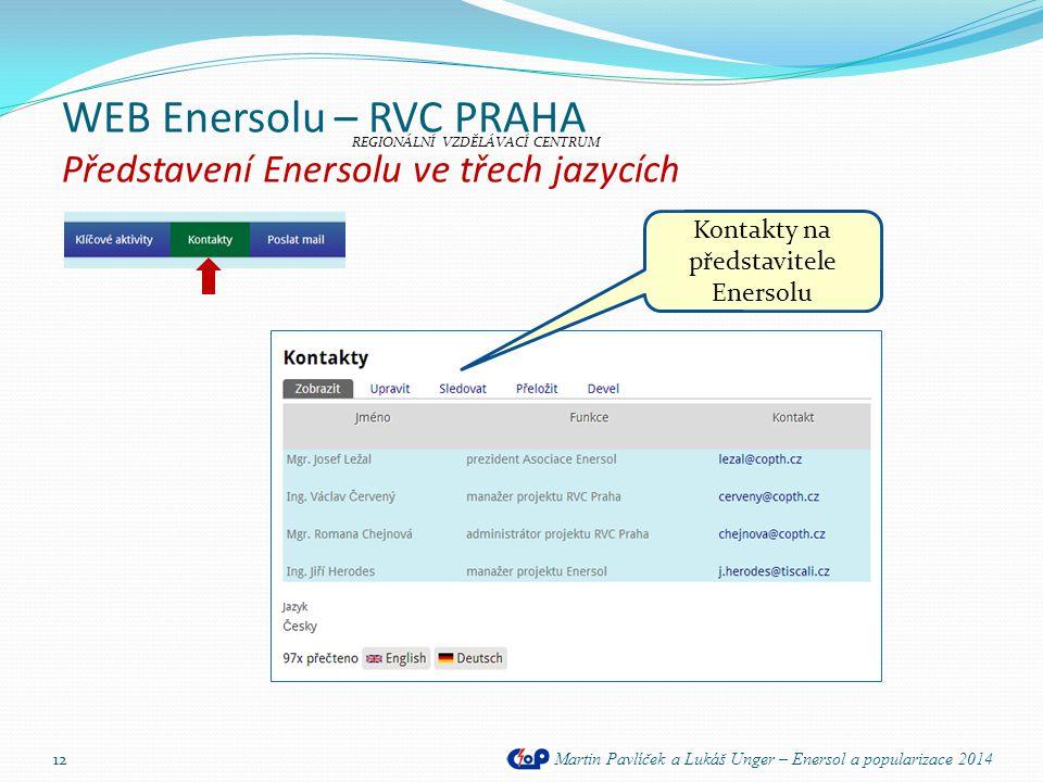 WEB Enersolu – RVC PRAHA Představení Enersolu ve třech jazycích Martin Pavlíček a Lukáš Unger – Enersol a popularizace 2014 12 REGIONÁLNÍ VZDĚLÁVACÍ C