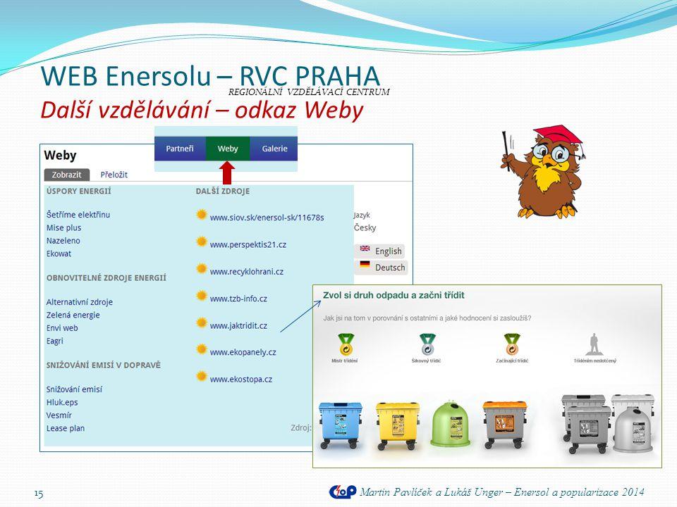 WEB Enersolu – RVC PRAHA Další vzdělávání – odkaz Weby Martin Pavlíček a Lukáš Unger – Enersol a popularizace 2014 15 REGIONÁLNÍ VZDĚLÁVACÍ CENTRUM