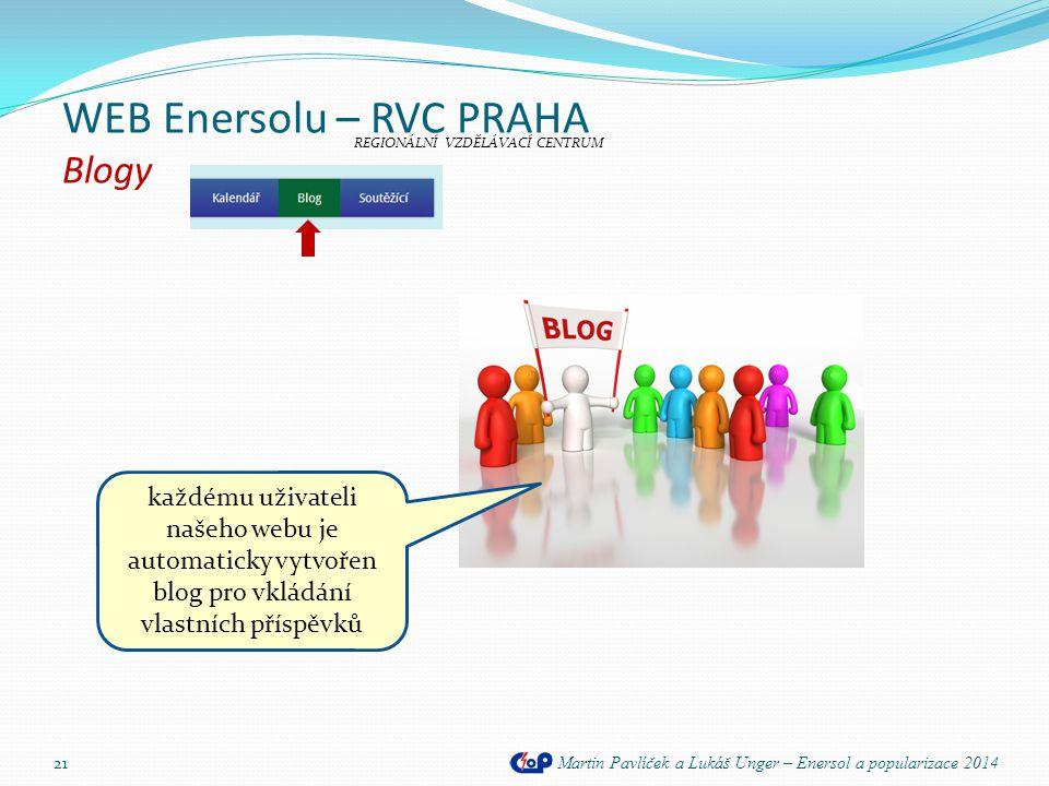 WEB Enersolu – RVC PRAHA Blogy Martin Pavlíček a Lukáš Unger – Enersol a popularizace 2014 21 REGIONÁLNÍ VZDĚLÁVACÍ CENTRUM každému uživateli našeho w