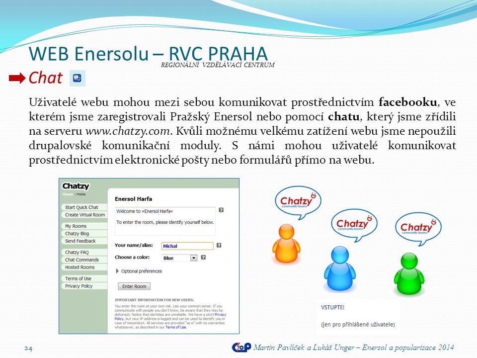 WEB Enersolu – RVC PRAHA Chat Martin Pavlíček a Lukáš Unger – Enersol a popularizace 2014 24 Uživatelé webu mohou mezi sebou komunikovat prostřednictv