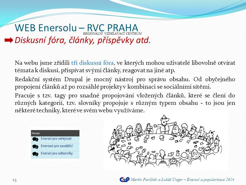 WEB Enersolu – RVC PRAHA Diskusní fóra, články, příspěvky atd. Martin Pavlíček a Lukáš Unger – Enersol a popularizace 2014 25 Na webu jsme zřídili tři