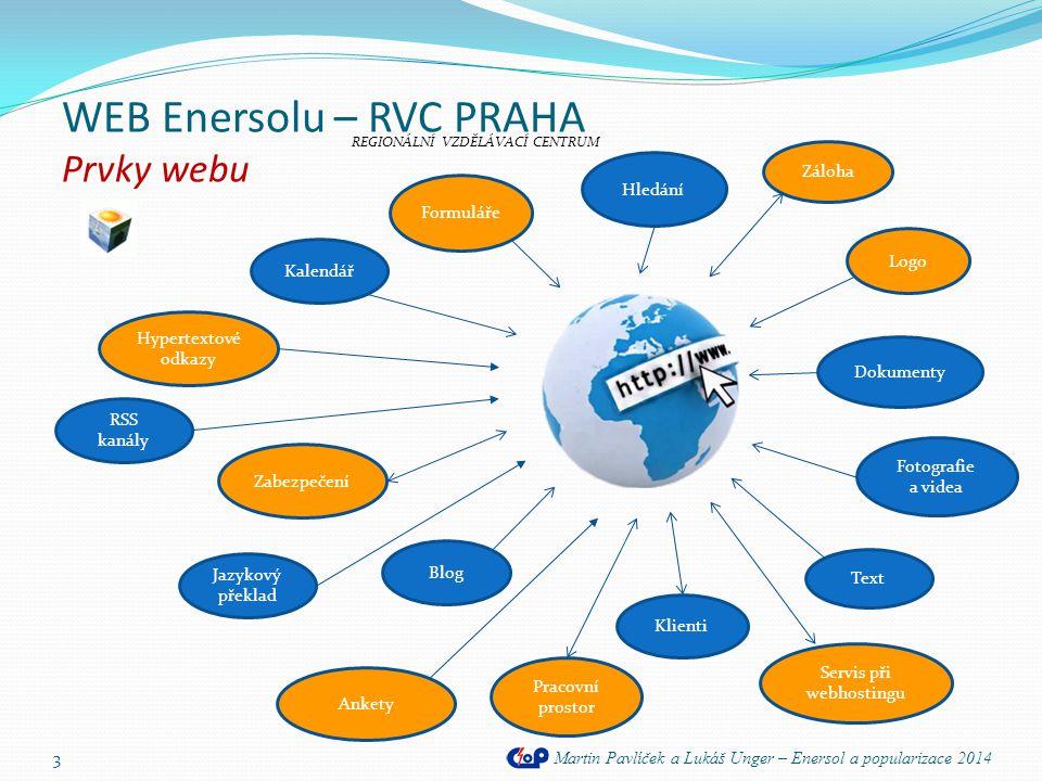 WEB Enersolu – RVC PRAHA Představení webu Martin Pavlíček a Lukáš Unger – Enersol a popularizace 2014 14 REGIONÁLNÍ VZDĚLÁVACÍ CENTRUM webové odkazy na partnery projektu Enersol