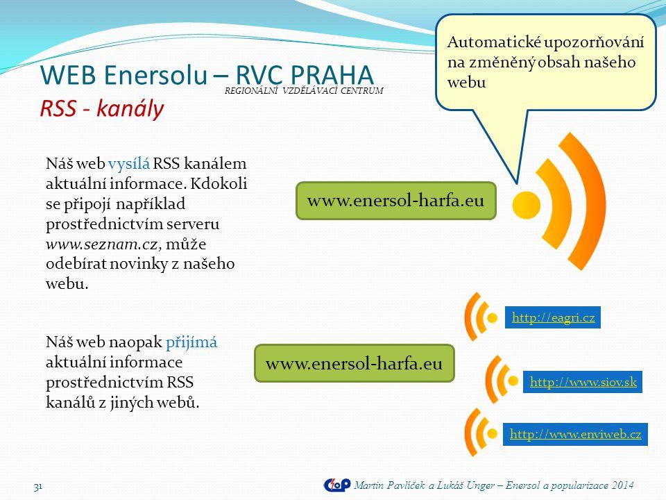 WEB Enersolu – RVC PRAHA RSS - kanály Martin Pavlíček a Lukáš Unger – Enersol a popularizace 2014 31 Náš web vysílá RSS kanálem aktuální informace. Kd