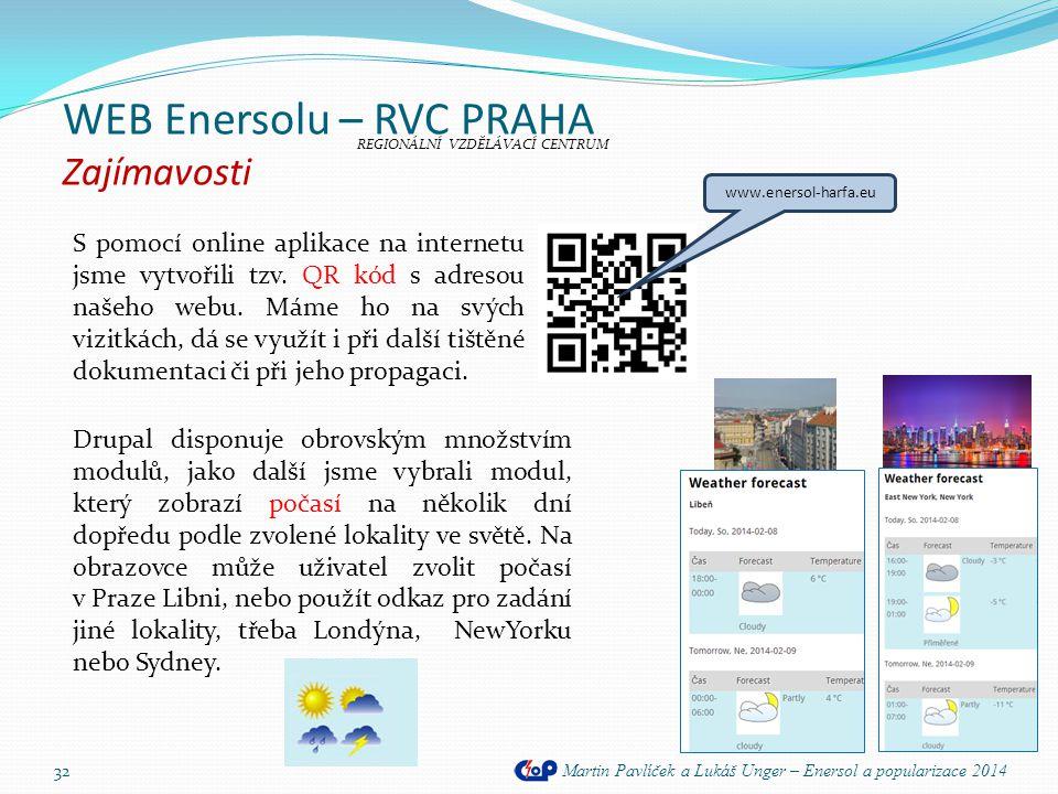 WEB Enersolu – RVC PRAHA Zajímavosti Martin Pavlíček a Lukáš Unger – Enersol a popularizace 2014 32 S pomocí online aplikace na internetu jsme vytvoři
