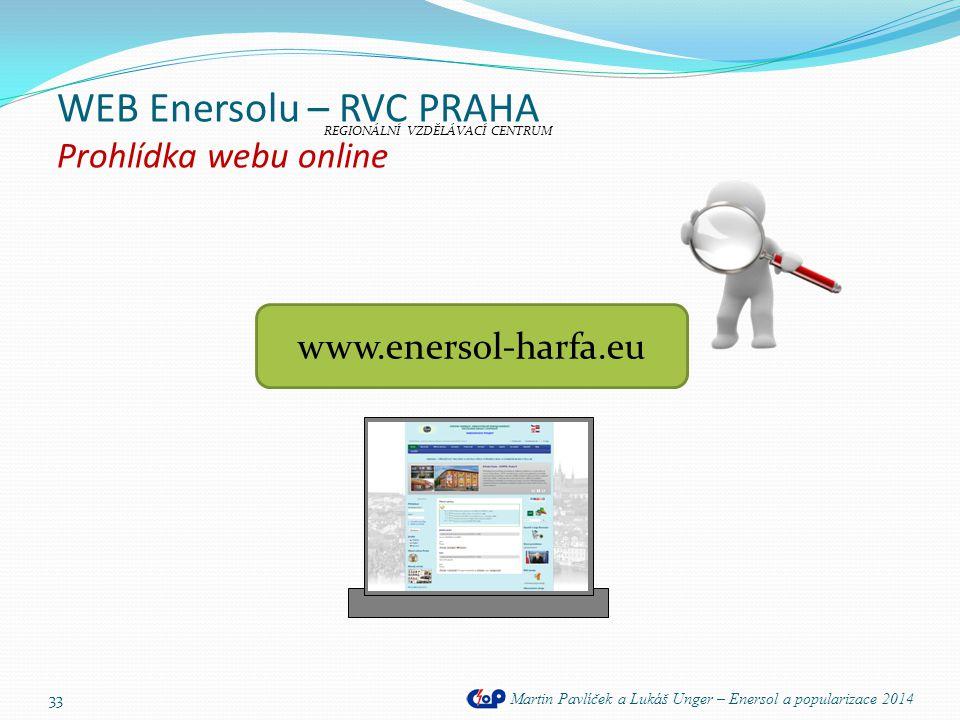 WEB Enersolu – RVC PRAHA Prohlídka webu online Martin Pavlíček a Lukáš Unger – Enersol a popularizace 2014 33 www.enersol-harfa.eu REGIONÁLNÍ VZDĚLÁVA