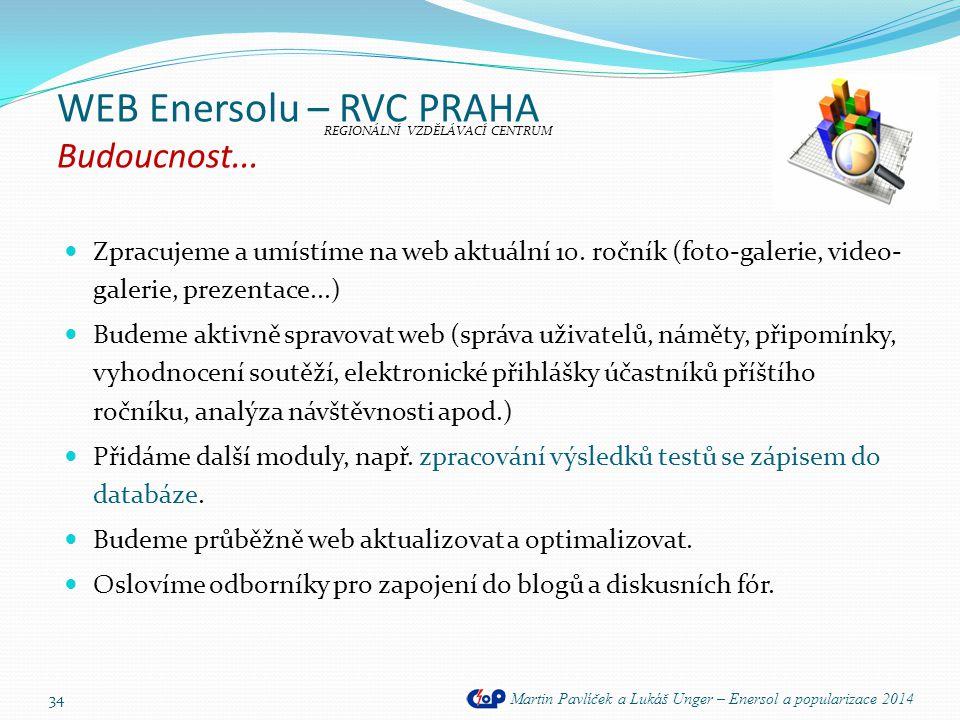 WEB Enersolu – RVC PRAHA Budoucnost... Martin Pavlíček a Lukáš Unger – Enersol a popularizace 2014  Zpracujeme a umístíme na web aktuální 10. ročník