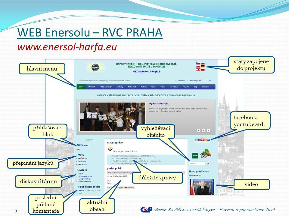 WEB Enersolu – RVC PRAHA www.enersol-harfa.eu Martin Pavlíček a Lukáš Unger – Enersol a popularizace 2014 5 hlavní menu facebook, youtube atd. přihlaš