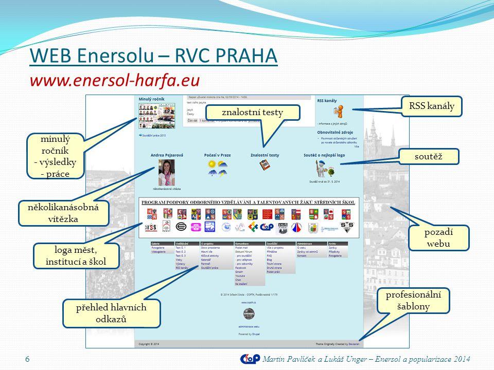 WEB Enersolu – RVC PRAHA www.enersol-harfa.eu Martin Pavlíček a Lukáš Unger – Enersol a popularizace 2014 6 RSS kanály znalostní testy minulý ročník -