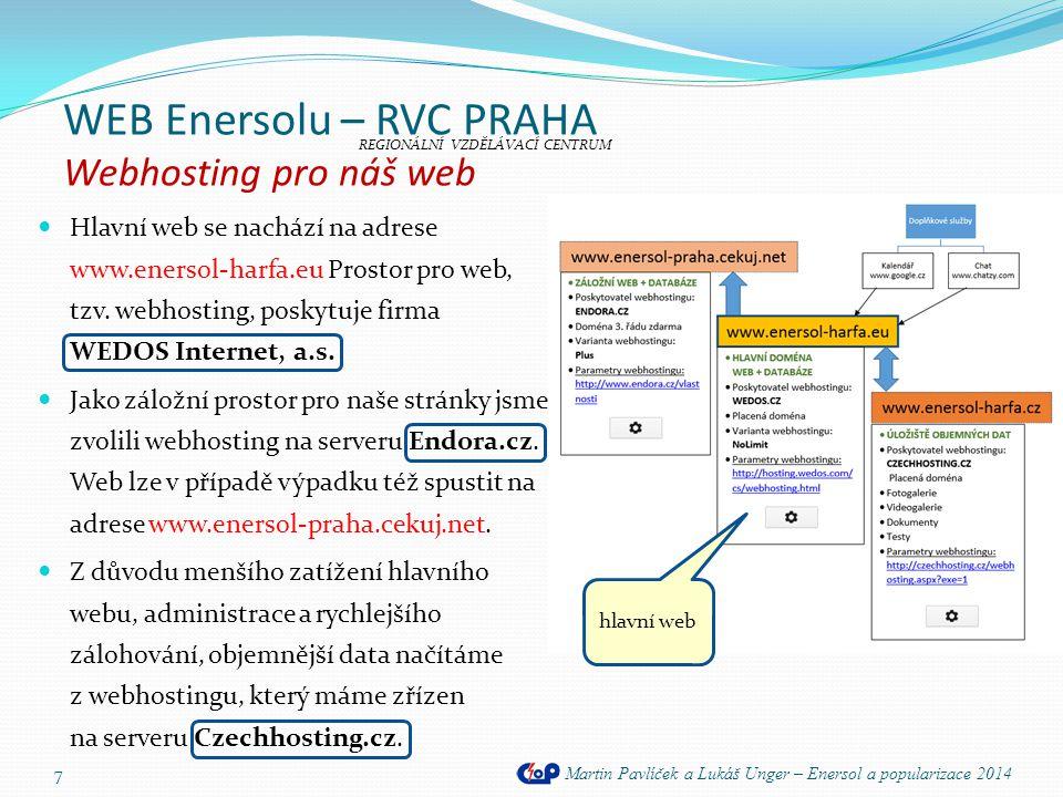 WEB Enersolu – RVC PRAHA Popis webu Martin Pavlíček a Lukáš Unger – Enersol a popularizace 2014 8 S pomocí jazyka kaskádových stylů CSS jsou na webu automaticky měněny tři hlavní fotografie s popisky.