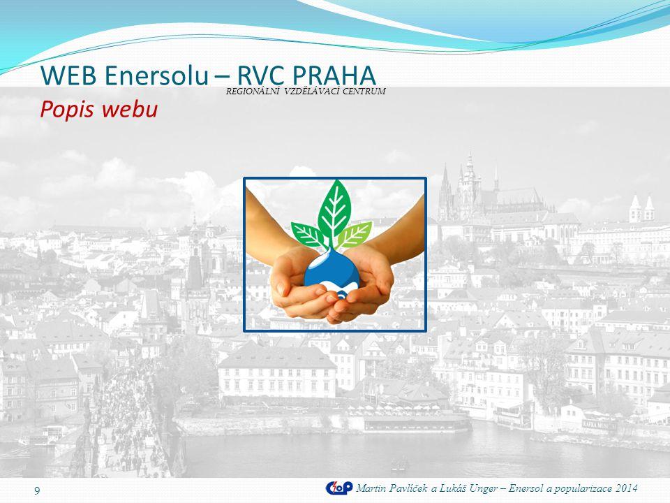 WEB Enersolu – RVC PRAHA Kalendář akcí Martin Pavlíček a Lukáš Unger – Enersol a popularizace 2014 20 Na serveru www.google.com jsme zaregistrovali účet, s pomocí kterého jsme vytvořili kalendář, který upozorňuje na důležité termíny projektu Enersol.