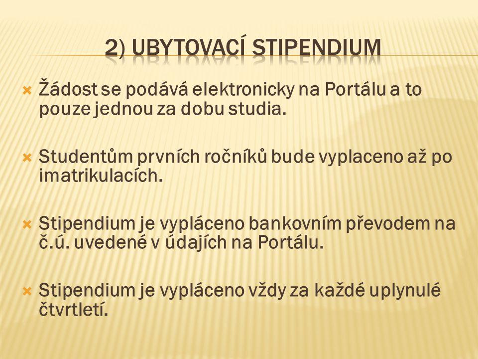  Žádost se podává elektronicky na Portálu a to pouze jednou za dobu studia.