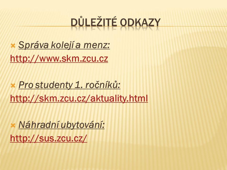  Správa kolejí a menz: http://www.skm.zcu.cz  Pro studenty 1.