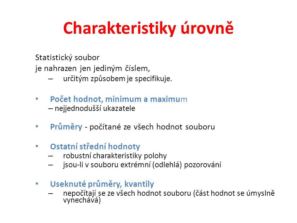 Charakteristiky úrovně Statistický soubor je nahrazen jen jediným číslem, – určitým způsobem je specifikuje. • Počet hodnot, minimum a maximum – nejje