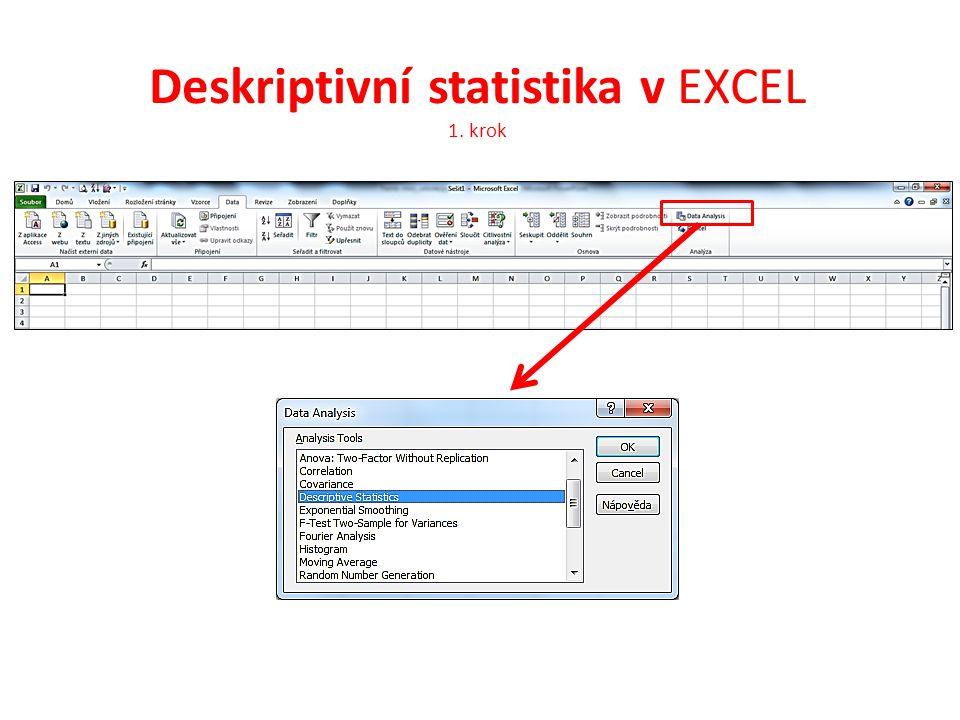 Deskriptivní statistika v EXCEL 1. krok