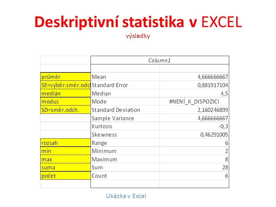 Deskriptivní statistika v EXCEL výsledky Ukázka v Excel