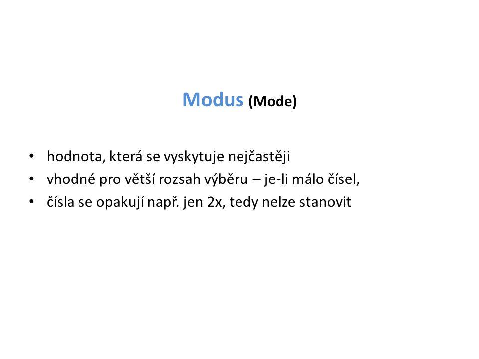 Modus (Mode) • hodnota, která se vyskytuje nejčastěji • vhodné pro větší rozsah výběru – je-li málo čísel, • čísla se opakují např. jen 2x, tedy nelze