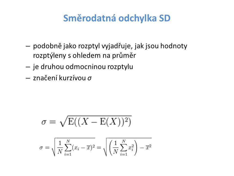 Směrodatná odchylka SD – podobně jako rozptyl vyjadřuje, jak jsou hodnoty rozptýleny s ohledem na průměr – je druhou odmocninou rozptylu – značení kur