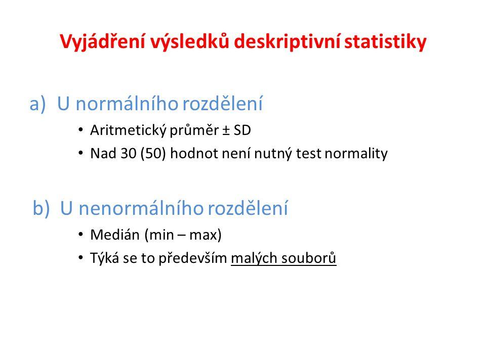 Vyjádření výsledků deskriptivní statistiky a)U normálního rozdělení • Aritmetický průměr ± SD • Nad 30 (50) hodnot není nutný test normality b)U nenor