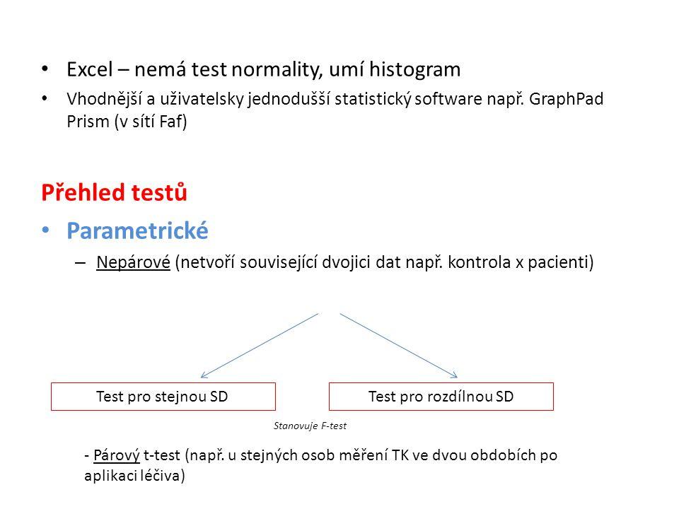 • Excel – nemá test normality, umí histogram • Vhodnější a uživatelsky jednodušší statistický software např. GraphPad Prism (v sítí Faf) Přehled testů