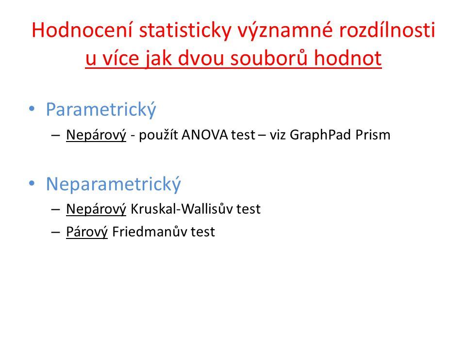 Hodnocení statisticky významné rozdílnosti u více jak dvou souborů hodnot • Parametrický – Nepárový - použít ANOVA test – viz GraphPad Prism • Neparam