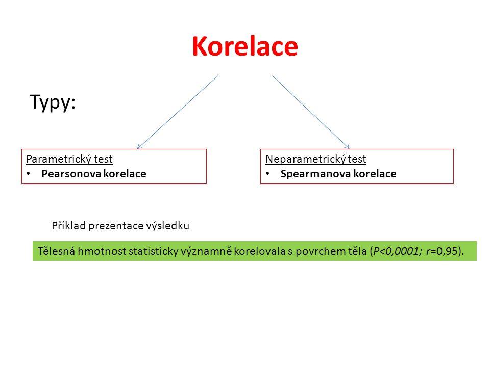 Korelace Typy: Parametrický test • Pearsonova korelace Neparametrický test • Spearmanova korelace Příklad prezentace výsledku Tělesná hmotnost statist