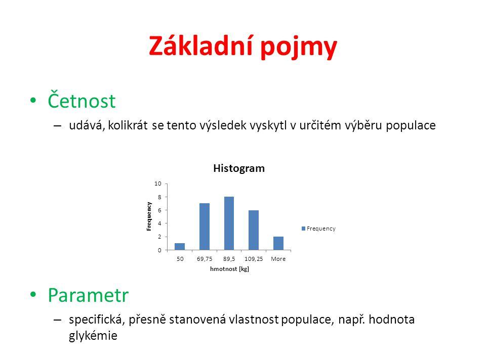 Základní pojmy • Četnost – udává, kolikrát se tento výsledek vyskytl v určitém výběru populace • Parametr – specifická, přesně stanovená vlastnost pop