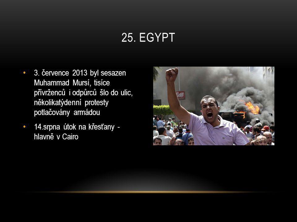 • 3. července 2013 byl sesazen Muhammad Mursí, tisíce přívrženců i odpůrců šlo do ulic, několikatýdenní protesty potlačovány armádou • 14.srpna útok n
