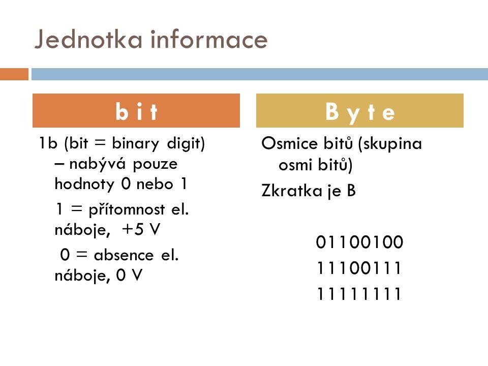 Jednotka informace 1b (bit = binary digit) – nabývá pouze hodnoty 0 nebo 1 1 = přítomnost el. náboje, +5 V 0 = absence el. náboje, 0 V Osmice bitů (sk